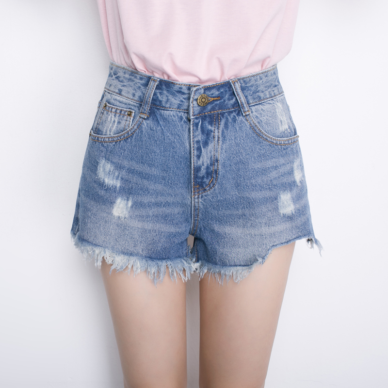 Fashion Denim Shorts Women Sexy Frayed Edges High Waist Jeans Short 2017 Casual Pockets Ripped Hole ShortsОдежда и ак�е��уары<br><br><br>Aliexpress