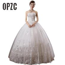Hot Sale Beading 2016 New Sweetange Korean Style Sweet White Princess Fashionable Lace Wedding Dress Romantic Custom Made T305(China)