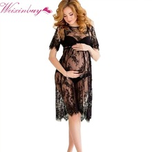WEIXINBUY New Women Lace Dress Casual Long Black Short Sleeve O Neck See Through Beach Wear Dresses Plus Size(China)
