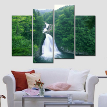 Green Forest Waterfall 4 Piece Modern Giclee Canvas Prints Artwork Landscape Tree Oil Paintings Reproduction Pictures On Canvas