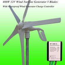 2017 Hot Selling 5 Blades Low Wind Speed Starting NSK Bearings 400W 12V Wind Turbine Generator & Waterproof Wind Controller