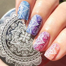 1 Pc BORN PRETTY Round 5.5cm Nail Art Stamp Template Arabesque Full Lace Flower Design Image Nail Stamping Plate BP-92
