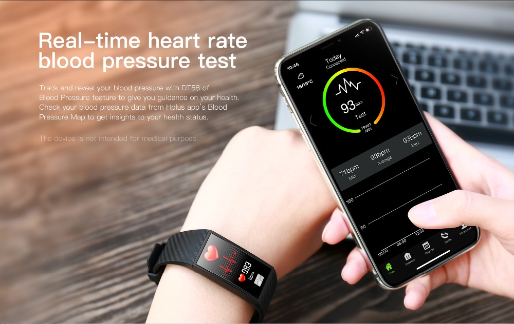 DT58 Smart Bracelet Big Screen Activity Fitness Tracker ECG Band Heart Rate Watch Sports Smart Wristband (3)