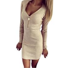 2017 Autumn Winter Women Mini Dresses Sexy Stretch Zipper Bodycon Dress Sexy Long Sleeve V-neck Knit Dress Party Vestidos Mujer