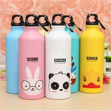 2016 Candy Color 500ML Cute Cartoon Pattern Aluminum Water Bottle Outdoor Travel Sports Kitchen Accessories(China)