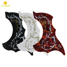 "FLEOR 3pcs Acoustic Guitar Pickguard Sticker Self-adhesive Plate for 40"" 41"" 42"" Acoustic Guitar,Black+White+ Red Tortoise(China)"