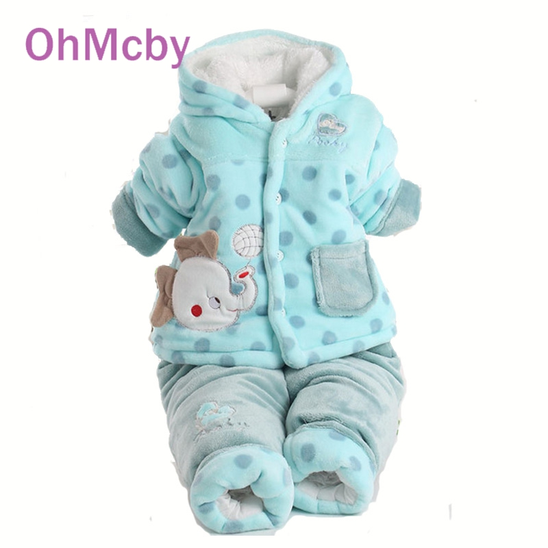Cartoon Elepant Monkey Winter thicken Suit For Baby Boys Clothing Set Hooded coat and Pant two-piece Suit Cotton-padded Clothes<br><br>Aliexpress