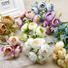 6pcs /lot 4.5cm Artificial Silk Camelia Tea Rose Bouquet For Diy Wedding Ball Decoration Wreath Artificial Flowers Free Shipping
