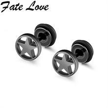 Fate Love Star Round Earrings Stainless Steel Star Design Stud Earrings Black White Gold Colors Man Jewelry Male Earrings FL347