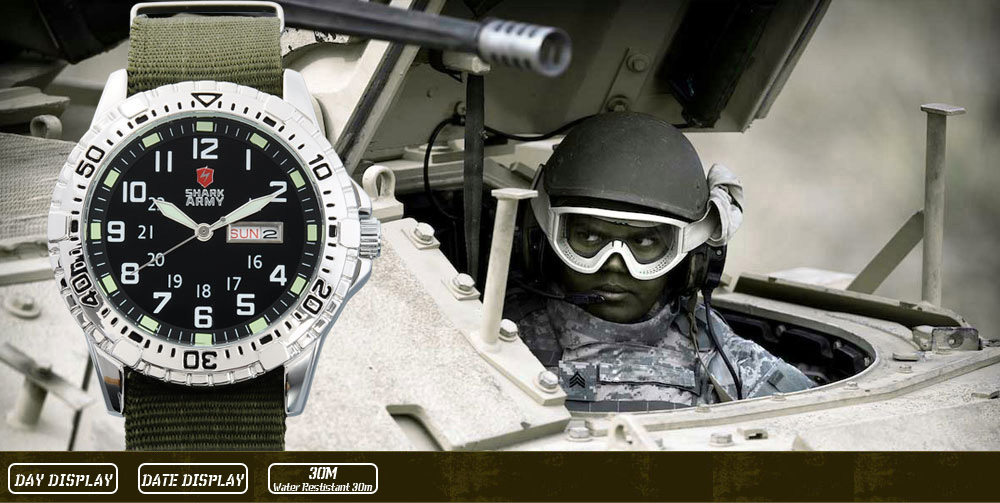 ฉลามกองทัพนาฬิกาผู้ชายยี่ห้อไนล่อนสี 11