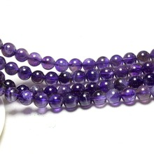 Wholesale 4/ 6 /8 /10/ 12 mm Round Natural Amethysts Purple Stone Beads For Jewelry Making DIY Bracelet Necklace Strand 15''(China)