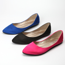 Best Selling Zapatos Mujer 2016 New Plain Silk Satin Shallow Pointed Toe Plus size 41 Single Lady Ballerina Shoes Flats Slip-On