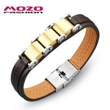 MOZO FASHION Men Trendy Jewelry Genuine PU Leather Rope Chain Golden Stainless Steel Vintage Bracelets Male Hand Bracelet MPH964