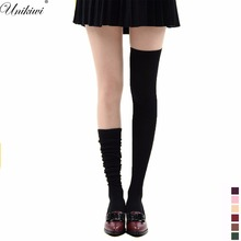 9 Colors Women's Hosiery Stay Up Velvet Thigh High Stockings Over Knee Hose.Lolita Cosplay Candy Color Soft Hold Ups Pantyhose(China)