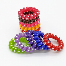 Wholesale 10 Pcs 4 cm Dot Middle Elastic Telephone Wire Hairband Hair Ties Rope Plastic Hair Bands Accessories(China)