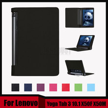 3 in 1 New Stand Litchi Pu leather case cover For Lenovo Yoga Tab 3 10.1 X50F X50M X50L tablet pc + Stylus + Screen Film