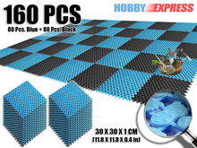 New 160 pcs Blue and Pink Plastic Flooring Mat Tiles Anti Slip Indoor/Outdoor Foot Prints Pattern 30 x 30 cm KK1128