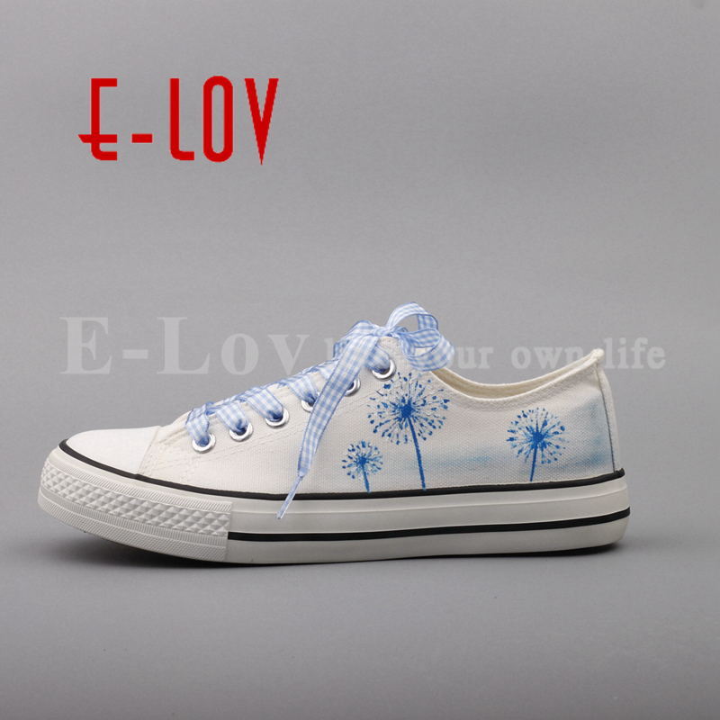 E-LOV 2017 Summer Women Hand Painted Canvas Shoes Floral Cartoon Casual Flats Plus Size Espadrilles Dropshipping<br>
