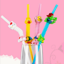 4PCS Available Hallo Kitty/Monkey/Duck/Crocodile Cute Animal Drinking Straws Flexible Creative PP Straw Kids Birthday Party Gift(China)