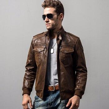 Hommes de peau de porc de moto en cuir véritable veste En Cuir Véritable vestes rembourrage coton hiver chaud manteau hommes