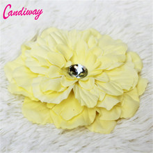 2017 Hot Sale Yellow Big Flower Blooming Fabric Flower Brooch Hair Clip Boutique Headdress Hair Accessories For Bridal Wedding(China)