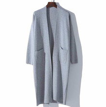 wool blend knit women's fashion boutique mid long cardigan sweater coat white 4color M/L/XL(China)