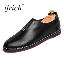 Ifrich New Leather Casual Shoes Men Slip on Black Orange Loafers Male Split Leather Fashion Footwear Cheap(China)