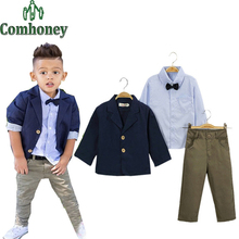 Kids Suit Boys Wedding Blazer Jacket+Tie Shirt+Pants Formal Set Baby Birthday Evening Party Clothes Casual Child Tuxedo Suit