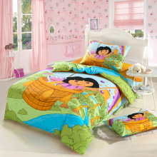 New high quality home children bedding set of Dora, 2 pillow case, 1 bed sheet and 1 duvet cover(China)