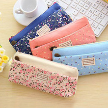 Cute Fabric Cotton Flower Creative Pencil Case Kawaii Cartoon Pink Trojan Pencil Bag Novelty Stationery for Kids School Supply