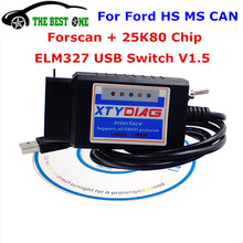 Best ForScan ELM327 USB V1.5 Switch For Ford For Mondeo For Kuga 25K80 Chip Support HS MS CAN BUS English & Russian ELM 327 1.5