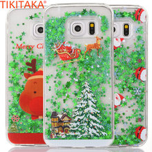 Christmas Present Sock Tree Case For Samsung Galaxy S6 S7 Edge Hard PC Quicksand Liquid Green Stars Case Santa Claus Elk Coque