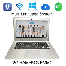 2G ram 64G EMMC windows 10 system 13.3 inch silver metal laptop In-tel Atom Z3735F,Quad Core,1.33GHz netbook built in camera