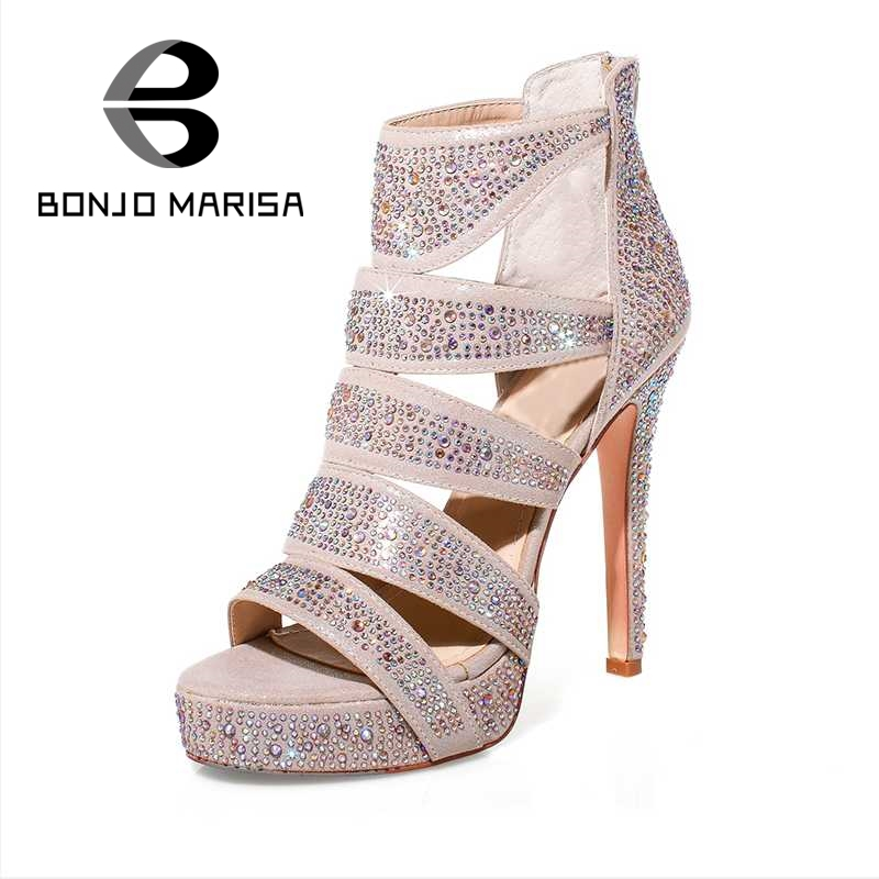 BONJOMARISA Top Quality Women Rhinestone Summer Shoes Woman Sexy Ultra High Heels Cutout Open Toe Platform Gladiator Sandals<br><br>Aliexpress