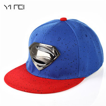 YIFEI 2017 Women's Baseball Cap Superman With Gold Metal S For Men Women Casual Batman Hip Hop Hats Black Grey Blue Punk Hat(China)