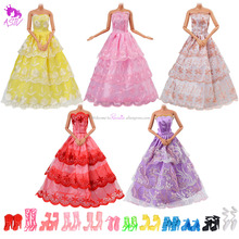 5 Handmade Dresses and 10 Pairs of Shoes Wedding Party Gown Outfits Dress Up Game for Barbie Dolls for Girl's Xmas Birthday Gift