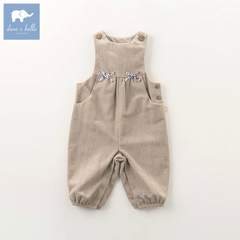 DB5809 dave bella autumn infant baby girls fashion romper children solid toddler clothes baby 1 piece <br>