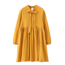 6 to 16 years kids & teenager girls solid cotton princess long sleeve flare dress children fashion casual bow fall autumn dress