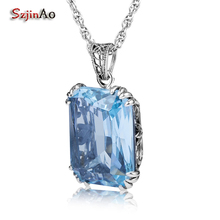 Szjinao Rectangle Vintage Charm Stone Pendant Suspension Femme Bohemian Blue Italy Crystal 925 Sterling Silver Jewelry for Women