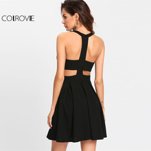 COLROVIE 2017 Winter Round Neck Dress Cut Out Y-Back Box Pleated Fit And Flare Dress Black Sleeveless Halter A Line Party Dress(China)