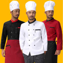 Hotel Long Sleeve Chef Uniform Double Breasted Chef Jacket Restaurant Waiter Kitchen Cooking Uniform  2 Color Waork Wear 18