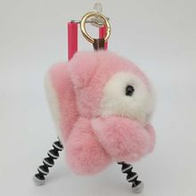Genuine mink Fur Keychain fashion Soft Fur squirrel Key ring bag Pendant gift car pendant car accessories key rings plush toy