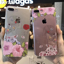 Kerzzil 3D Relief Case For iPhone 7 6 6S Plus Sketch Girl Roses Pink Flowers Soft Phone Cover TPU Back For iPhone 6 7 6s New