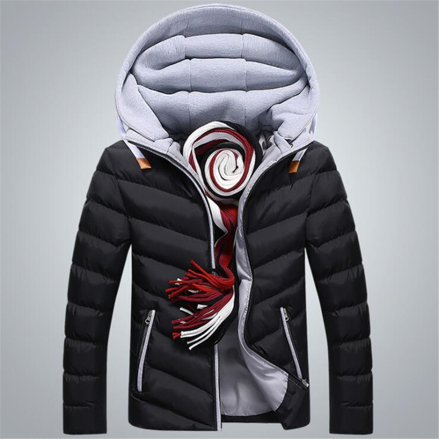 2018 Winter Jacket Men Hat Detachable Warm Cotton Padded Outerwear Mens Jackets And Coats Hooded Collar Male Parkas Jackets
