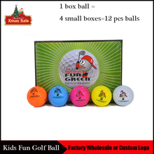 12 Pcs/Set 2 Layers Practice Golf Ball Colorful Golf Training Aids Balls for Kids/Adults OEM Logo Golf Accessories(China)