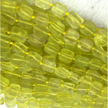 "Natural Genuine Yellow Lemon Quartz Crystal Hand Cut Nugget Free Form Loose Rough Matte Faceted Beads Fit Jewelry 6-9mm15"" 04284"