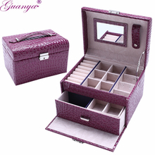 Guanya Leather Jewelry Box Storage Case,Multilayer Jewelry Container Organizer Cases , Large Capacity DIY Grid portable Gift Box(China)