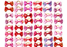 60pcs/lot pet dog hair bows rubber bands pet dog grooming bows pink rose red for girls dog hair accessories grooming product