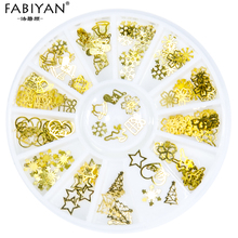 3D Tips Gold Metal Christmas Tree Bell Snowflake Flower Nail Art  Decoration Slice Decal Foils Wheel Manicure Jewelry Tools Gift