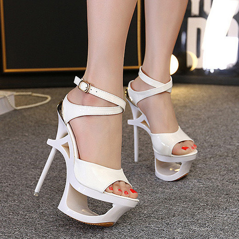 Superstar Patent Leather Women Sandals Extreme High Heels Sexy Platform Shoes Summer For Wedding African Dresses For Women<br><br>Aliexpress